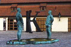 """""""Pissing Match"""" outside Kafka Museum -- another David Czerny sculpture"""