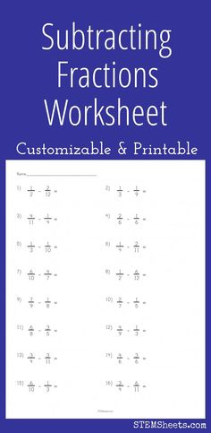 Subtracting Fractions Worksheet - Customizable and printable