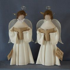 O1: Natural (Calico) Angels set of 2 - $79