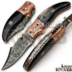 Knives Exporter New Custom Made Damascus Steel Folding Knife, Horn Handle KE-F75 #KnivesExporter