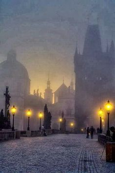 Incoming surise over the Charles bridge  Prague, Czechia