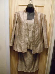 Kasper Size 14 Gold 3 Piece Suit Ensemble Jacket Shell Skirt Dressy Holidays  #Kasper #SkirtSuit