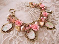 victorian rose vintage inspired  charm bracelet by monaliszadesign