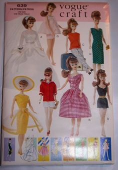 """Vogue 9834 or 639 Sewing Pattern for Teen 11.5"""" Doll Like Barbie or Midge by Butterick Pattern Service,http://www.amazon.com/dp/B003LGGAYU/ref=cm_sw_r_pi_dp_toqmsb1KKF9SPY0A"""