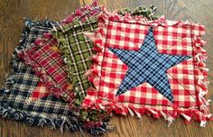 Set of 4 Rag Quilted Trivets / Coasters/Mug Rugs - Ready to Ship - Americana, Rustic, Country, Western