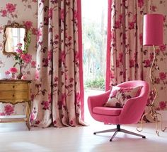 Gorgeous wallpaper and curtains!