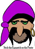 Pin the Patch on the Pirate Pirate party game or mask printable