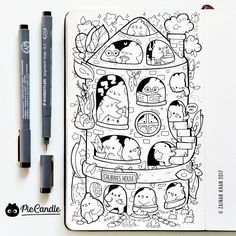 Today's doodle pencil ghar (pencil house) картинки для блокнотов po Cute Doodle Art, Mini Doodle, Doodle Art Drawing, Cute Art, Kawaii Doodles, Cute Doodles, Kawaii Art, Doodle Monster, Kawaii Drawings