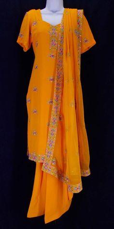 a1d7534be9 Tangerine orange georgette thread-embroidered salwar kameez size 36 (S) – Little  India. Little India Salwar Boutique
