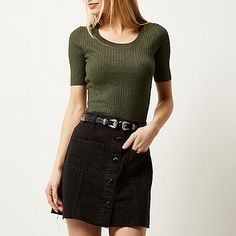 Khaki knitted ribbed scoop neck top