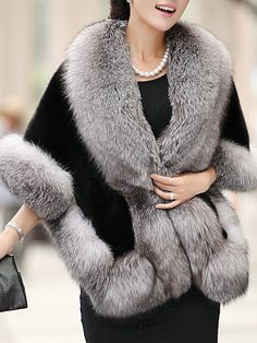 Casaco De Pele Feminino Women's Winter Jackets 2016 Fashion Half Sleeve Fox Fur shawl Coat Of Artificial Fur Casaco De Fur Cape, Cape Coat, Poncho Coat, Faux Fur Collar, Fur Collars, Manteau Vison, Coats For Women, Clothes For Women, Dress With Shawl