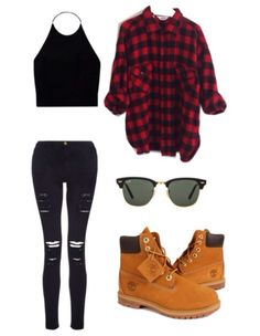 black cropped halter top, black cut out jeans, black and red flannel, timberland boots, black sunnies.