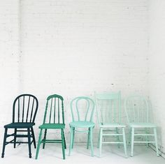 Turquoise/ Teal on chairs The two on the right are so similar that it's hard to tell any difference when applied.