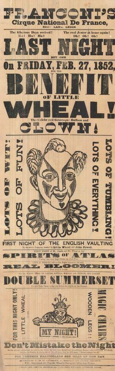 Vintage Circus Poster from the Leeds Playbill Archive