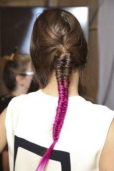 pink ombré fishtail braid #hair