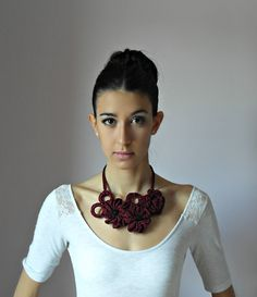 SILVIA66: Hand Crochet Necklace (LUX) - Ruby Red, Blood Red ...