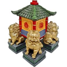 Cultural Miniature - Chinese Pagoda with 4 Guardian Lions
