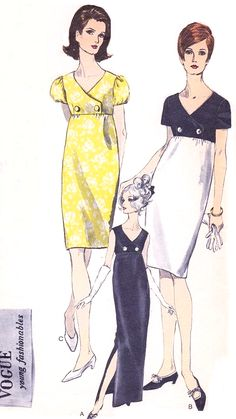 1960s CLASSY Empire Evening Cocktail Party Dress Pattern VOGUE Young Fashionables 6847 Surplice Empire Bodice Slim Gown or Dress 3 Styles Bust 34 Vintage Sewing Pattern UNCUT