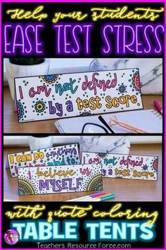 Help your students deal with the stress and anxiety felt while taking tests at school with motivational coloring quote table tents. Teaching Character, Character Education, Character Development, Growth Mindset Display, High School Classroom, Classroom Decor, Create Quotes, Quote Coloring Pages, Table Tents