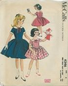 "An original ca. 1957 McCall's Pattern 4346.  Girls' Dress ""Easy to Sew""."