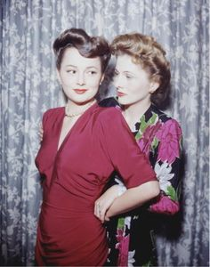 Complicated Sister's: Olivia Havilland and Joan Fontaine (not only in color, but in a rare moment of friendliness).