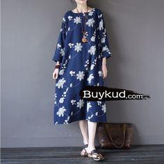Women cotton long sleeve embriodery dress