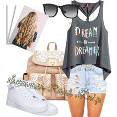 Summer Road Trip by shaylion on Polyvore featuring polyvore fashion style H&M NIKE Ray-Ban