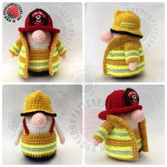 Free fireman outfit crochet pattern for our Gonk! Hookedonpatterns.com
