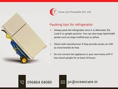 #Packing_tips for #refrigerator: • Always #pack the refrigerator once it is defrosted, dry. Load it in upright position. You can also keep lightweight goods such as large stuffed toys or pillow. • Check with manufacturer if they provide moves on side as most brands do that. • Do not connect the appliance in your new home until it has stood upright for at least 24 hours.