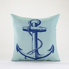 Everything Turquoise: Anchor Throw Pillow