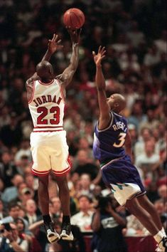 Michael Jordan puts up the game-winning shot over Utah Jazz forward Bryon Russell, right, to win Game 1 of the NBA Finals Sunday, June in Chicago. Michael Jordan Dunking, Michael Jordan Birthday, Mike Jordan, Michael Jordan Basketball, Jordan Logo, Michael Jordan Images, Michael Jordan Poster, Michael Jordan Quotes, Charlotte Hornets
