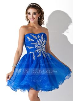 Homecoming Dresses - $129.99 - A-Line/Princess Sweetheart Short/Mini Organza Homecoming Dress With Ruffle Beading Sequins (022020858) http://jjshouse.com/A-Line-Princess-Sweetheart-Short-Mini-Organza-Homecoming-Dress-With-Ruffle-Beading-Sequins-022020858-g20858