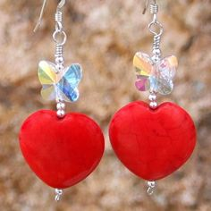 Handmade Heart Earrings Red Magnesite Butterflies OOAK Unique Jewelry | ShadowDogDesigns - Jewelry on ArtFire