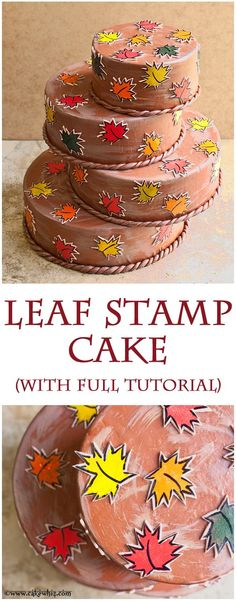 WHIMSICAL FALL THEMED CAKE with colorful maple leaves. These pretty leaves were made using homemade leaf stamps and I also did a tutorial :) From cakewhiz.com