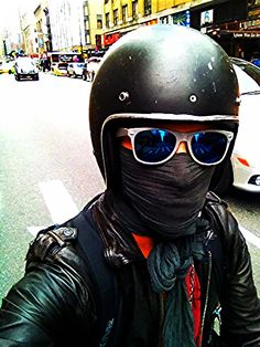 3/4 helmet face mask and mirrored sunglasses cafe racer