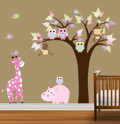 Vinyl Wall Decal Stickers Owl Nursery Tree Girls Baby Hippo Giraffe Tree. $110.00, via Etsy.