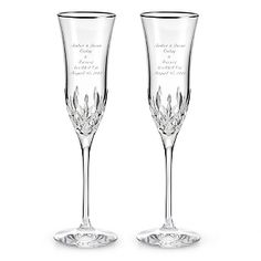 Engraved Waterford® Lismore Essence Platinum Champagne Flutes , Add Your Personalized Message