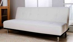 White Leather Futon Sofa Bed Home Furniture Design