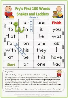 FREE PDF Fry's First 100 Words Snakes and Ladders Games x 6
