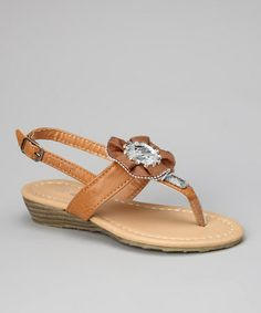 Look what I found on #zulily! Tan Shimmer Wedge Sandal by Ameta Corporation #zulilyfinds