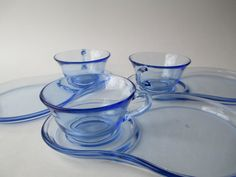 Beautiful Blue Teacup Snack Plate Set of Three by jenscloset