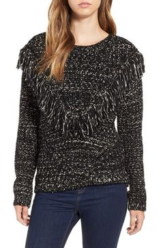ASTR 'Marion' Fringe Detail Crewneck Sweater available at #Nordstrom