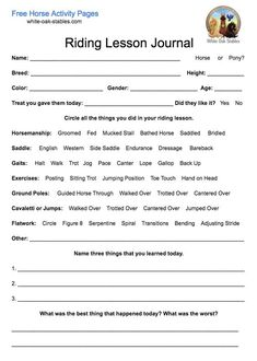 This is a great way for new or beginning students to learn about your horses and to reflect critically on what they did in their lesson. Its also useful for them to look back at the progress Horse Riding Tips, Horse Tips, Riding Gear, Riding Boots, Pony Breeds, Horseback Riding Lessons, Horse Information, Horse Exercises, Horse Facts