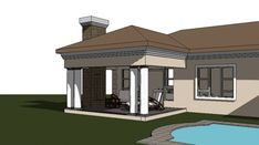 A four bedroom house plans drawing with garages for sale. Browse one storey 4 bedrooms house plans designs and Tuscan house plan designs in South Africa. Four Bedroom House Plans, Tuscan House Plans, 4 Bedroom House Designs, Garage House Plans, Bungalow House Plans, Double Storey House Plans, Built In Braai, Courtyard Landscaping, African House