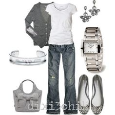 Jeans, white t-shirt, and gray sweater...i wish i could wear this every day.