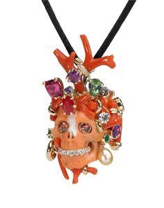 Skull pendant by Victoire de Castellane for Dior Fine Jewellery. Dior Jewelry, Coral Jewelry, Skull Jewelry, Jewelry Art, Jewelry Accessories, Jewelry Design, Jewellery, Sea Jewelry, Skull Rings