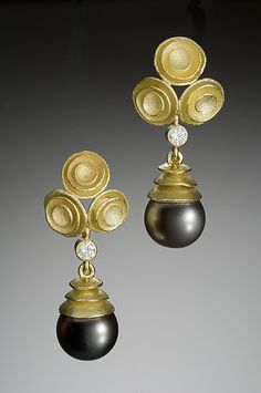 Nested Cup Earrings with Diamond and Pearl
