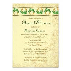 Shamrocks and Gold Irish Bridal Shower Personalized Invites