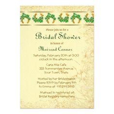 Shamrocks and Gold Irish Bridal Shower Personalized Invites