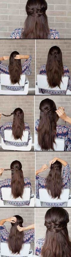 Half Up-Half Down Hairstyles For Long Hair - Braided Half-Up How-to - Ea., Amazing Half Up-Half Down Hairstyles For Long Hair - Braided Half-Up How-to - Ea., Amazing Half Up-Half Down Hairstyles For Long Hair - Braided Half-Up How-to - Ea. Down Hairstyles For Long Hair, Wedding Hairstyles Half Up Half Down, Braids For Long Hair, Hairstyles With Bangs, Trendy Hairstyles, Braided Hairstyles, Bangs Updo, Long Haircuts, Romantic Hairstyles